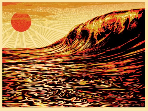 Dark Wave Rising Sun - Shepard Fairey